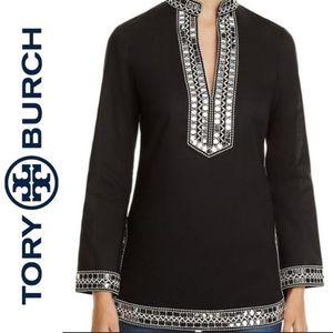TORY BURCH NWT embellished Tory tunic in black